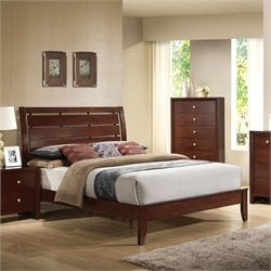 ACME Ilana Queen Sleigh Bed in Brown Cherry