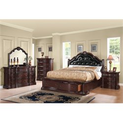 ACME Veradisia Queen Storage Panel Bed in Black and Dark Cherry