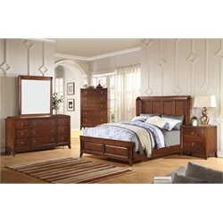 ACME Midway Queen Panel Bed in Cherry