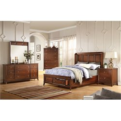 ACME Midway Queen Storage Panel Bed in Cherry