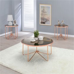ACME Alivia Coffee Table in Smoky Glass and Rose Gold