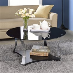 ACME Geiger Coffee Table in Black Glass and Rose Gold