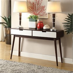 ACME Christa Console Table in Walnut and White