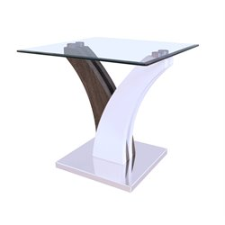 ACME Forest Console Table in Clear Glass and White and Walnut
