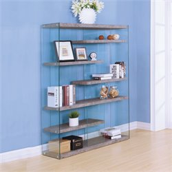 ACME Boyd 6 Shelf Bookcase in Clear Glass and Oak