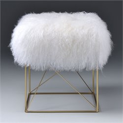 ACME Bagley Ottoman in Wool and Gold Brass