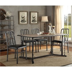 ACME Furniture Jodie 5 Piece Dining Set in Rustic Oak and Black