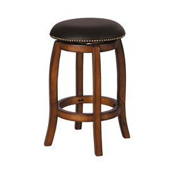 Chelsea Stool in Black Leather & Vintage Oak