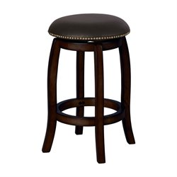 Chelsea Stool in Black Leather & Espresso