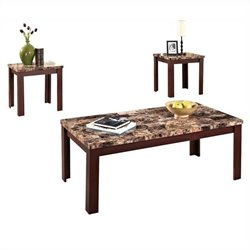 ACME Furniture Finely 3 Piece Table Set in Cherry