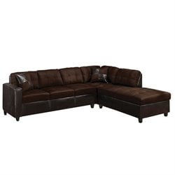 ACME Furniture Milano Faux Leather 2 Piece Sectional Sofa in Chocolate