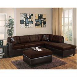 ACME Furniture Milano Faux Leather 2 Piece Sofa Set in Chocolate