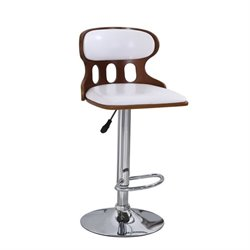 ACME Jase Swivel Adjustable Bar Stool in White (Set of 2)