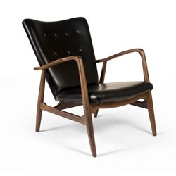 AEON Furniture Addison Arm Chair in Black Leather