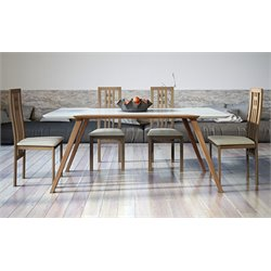 AEON Furniture Andrew 5 Piece Dining Set in White and Walnut