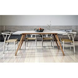 AEON Furniture Andrew 5 Piece Dining Set in White and Ash