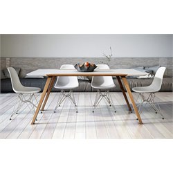 AEON Furniture Andrew 5 Piece Dining Set in Glossy White and Ash