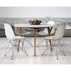 AEON Furniture Steve 5 Piece Dining Set in Glossy White and Ash