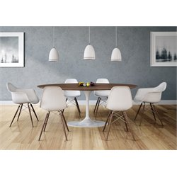 AEON Furniture Catalan 7 Piece Oval Dining Set in Glossy White