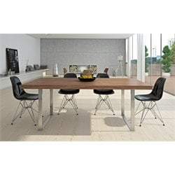 AEON Furniture Jordan 5 Piece Dining Set in Glossy Black and Walnut