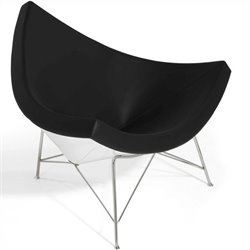 AEON Furniture Palm Leather Lounge Chair in Black