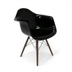 AEON Furniture Marcella Dining Arm Chair in Gloss Black and Walnut