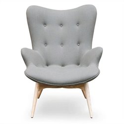 AEON Furniture Jules Tufted Fabric Lounge Chair in Gray