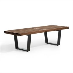 AEON Furniture Slat Bench in Black and Walnut