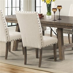 Elements Dex Upholstered Side Chair in Walnut and Cream (Set of 2)