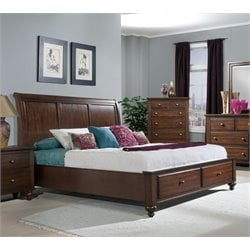 Elements Channing Queen Platform Bed in Cherry