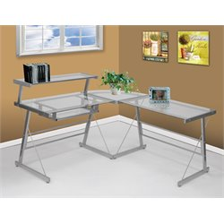 Elements Bueller L Shaped Desk in Silver