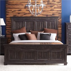 Elements Steele Panel Bed in Smokey Gray Oak