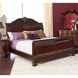 Elements Victoria Sleigh Bed in Dark Chestnut