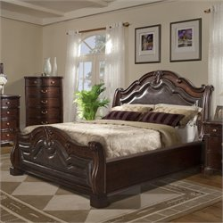Elements Tomlyn Sleigh Bed in Dark Cherry