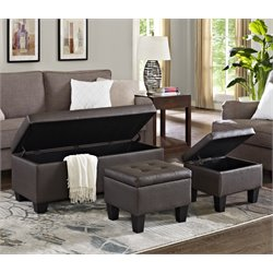 Elements Everett 3 Piece Storage Ottoman Set
