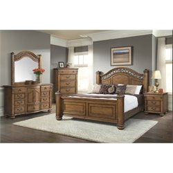 Elements Barrow 6 Piece Bedroom Set in Oak