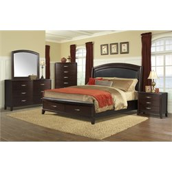 Elements Elaine 5 Piece Bedroom Set in Espresso (No Power)