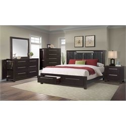 Elements Lydia 5 Piece Bedroom Set in Mahogany