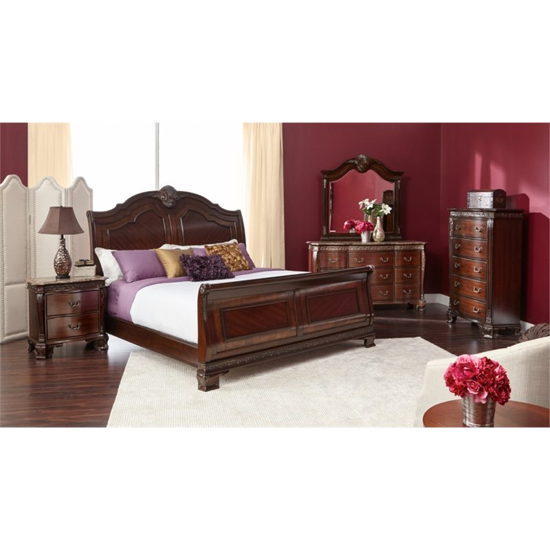 Elements victoria 4 piece queen sleigh bedroom set st6504qb Home furniture victoria street