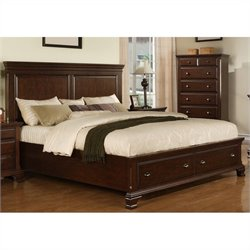 Elements Canton Storage Bed in Deep Cherry