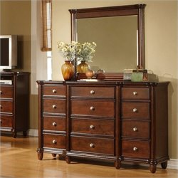 Elements Hamilton Dresser and Mirror in Warm Brown Cherry