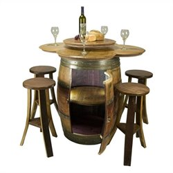 Napa East Collection Wine Barrel Table Set with Cabinet Base
