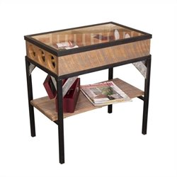 Napa East Collection French Glass Top End Table