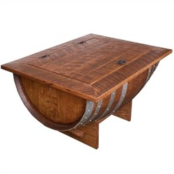 Napa East Collection Wine Barrel Distressed Finish Coffee Table