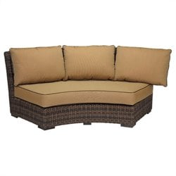 Sunset West Montecito Curved Loveseat in Cognac
