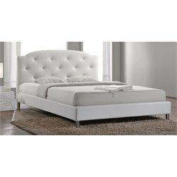 Canterbury Upholstered Queen Platform Bed in White