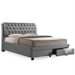 Ainge Upholstered Queen Storage Bed with Drawers in Gray