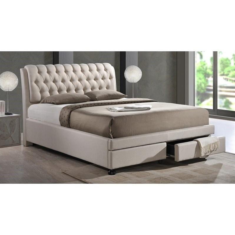 Ainge upholstered king storage bed with drawers in beige for Upholstered king bed with storage