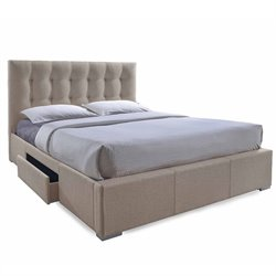 Sarter Upholstered Queen Storage Bed in Light Brown