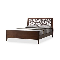 Jennifer Wood King Platform Bed in Dark Brown